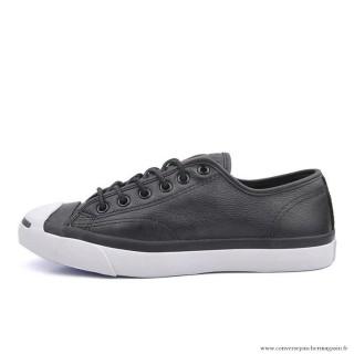 Converse Jack Purcell Basse Cuir Chaussures Pour Homme Noir Blanche
