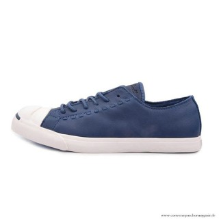 Converse Jack Purcell Basse Homme Cuir Chaussures Bleu Blanche