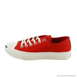 Converse Jack Purcell Basse Homme Cuir Chaussures Rouge