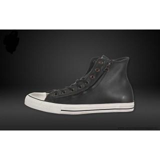 Converse Noir Blanche Chuck Taylor All Star Haute Cuir Chaussures