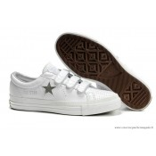 Converse One Star Argent Star Multi Buckles Cuir Blanche Argent