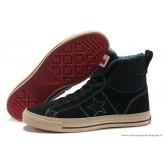 Converse One Star Haute Suede Chaussures Noir Bleu