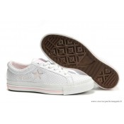 Converse One Star Rose Star Cuir Blanche Rose