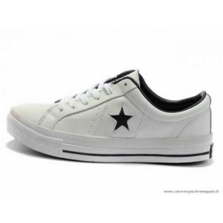 Cuir Chaussures Converse One Star Noir Star Basse Blanche Noir