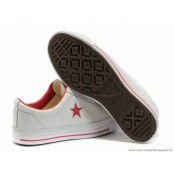 Cuir Chaussures Converse One Star Rouge Star Basse Blanche Rouge