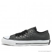 Femme Converse All Star Basse Cuir Chaussures Charcoal Grise Noir