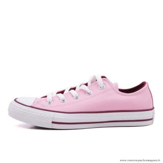 Femme Converse All Star Basse Cuir Rose Sombre Rouge