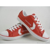 Femme Converse All Star Basse Cuir Rouge Blanche