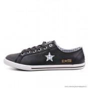 Femme Converse All Star Cuir Antiskid Chaussures Noir Clathrate