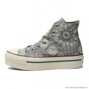 Femme Converse All Star Imprimer Haute Toile Chaussures Grise