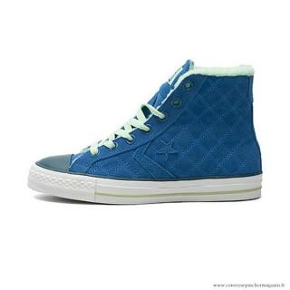 Femme Converse Cons Haute Avec Velours Suede Chaussures Bleu