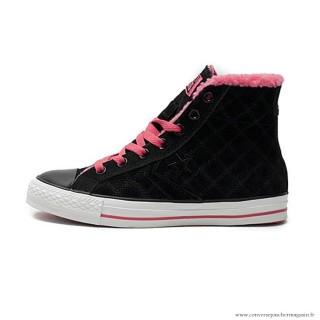 Femme Converse Cons Haute Avec Velours Suede Chaussures Noir Rose