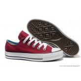 Femme Converse Double Tongue All Star Basse Bordeaux Bleu Royal