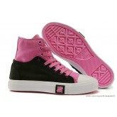 Femme Converse Double Upper Chuck Taylor All Star Haute Noir Rose