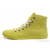 Femme Converse Double Upper Chuck Taylor All Star Haute Toile Blanche PunctiPourm Jaune