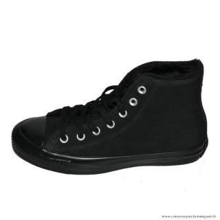 Femme Converse Haute Avec Velours Chaussures Noir