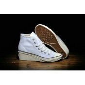 Femme Converse Wedge Heels Chuck Taylor All Star Haute Toile Blanche