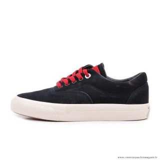 Homme Converse Cons Basse Suede Antiskid Chaussures Noir Rouge