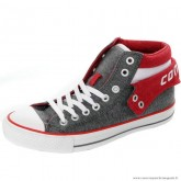 Homme Converse Padded Collar Mid Suede Grise Rouge