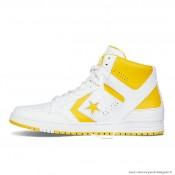 Homme Converse Weapon Cuir Chaussures Blanche Jaune