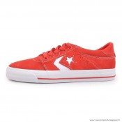 Homme Skateboard Chaussures Converse Cons Basse Suede Rouge Blanche