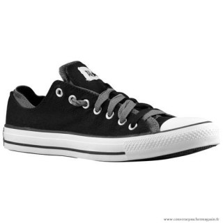 Homme Sports Chaussures Converse Ct Double Upper Suede Noir Blanche