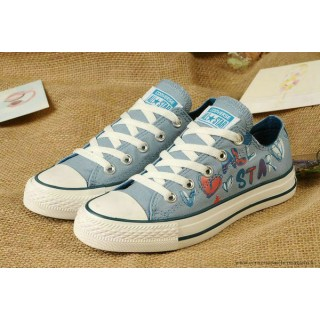 Lady Gaga Femme Girls Converse Chuck Taylor All Star Graffiti Imprime Rouge Basse Toile Bleu