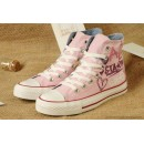 Lady Gaga Femme Girls Converse Chuck Taylor All Star Graffiti Imprime Rouge Haute Toile Rose