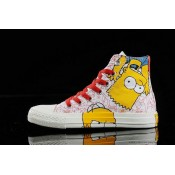 Le Converse Simpsons Chuck Taylor All Star Chaussures Rouge Blanche