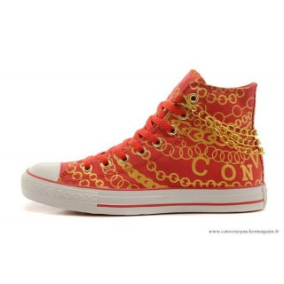 Nouveau Converse All Star Toile Chaussures Or Rouge
