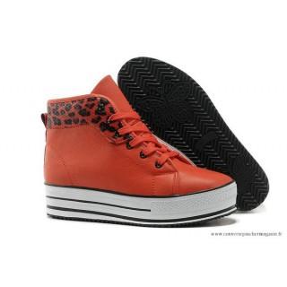 PlatPourm Chaussures Chuck Taylor Converse All Star Femme Haute Cuir Léopard Noir Nacarat