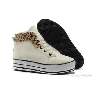 PlatPourm Chaussures Chuck Taylor Converse All Star Femme Haute Cuir Léopard Sienna Beige