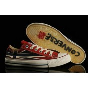 Union Jack Converse All Star Basse Toile Rouge Crystal Sole