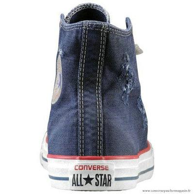 Converse Bleu Blanche All Star Haute Toile Chaussures Pour