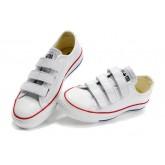 All Star Converse Boeuf Velcro En Cuir Blanc