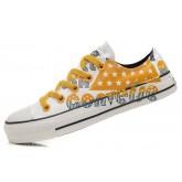 Converse All Star Soldes Orange, Drapeau Et Lettres Usa Graffitis Blanc