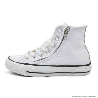 Antiskid Chaussures Converse Chuck Taylor All Star Zip Haute Cuir Blanche