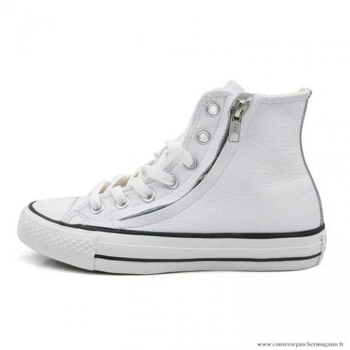 fd5dbd87ae9a0 Antiskid Chaussures Converse Chuck Taylor All Star Zip Haute Cuir Blanche