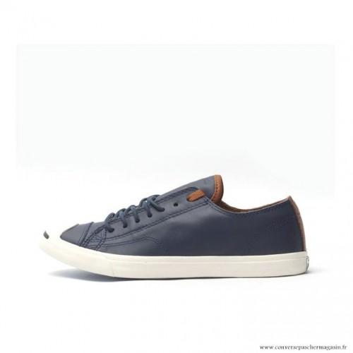 3ba482cf4a9 Chaussures Bleu Blanche Converse Jack Purcell Basse Homme Cuir ...