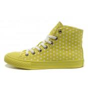 Chaussures Converse Plateforme Polka Blanche Pointillée Verte