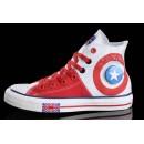 Chaussures Converse Uk Drapeau Blanc Rouge Semelles Claires