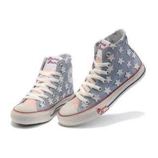 Chaussures Converse Usa Bleu Drapeau Avec étoile Blanche Rose Langue