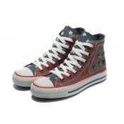 Chaussures Converse Usa Drapeau Bleu Gris Rouge Foncé