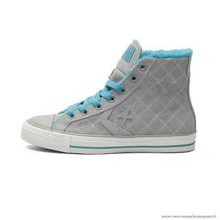 Chaussures Grise Bleu Femme Converse Cons Haute Avec Velours Suede