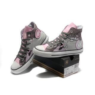 Chaussures Converse Pink Punk Impression Pirate Touches D'horloge Motif
