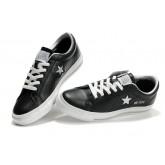 Chaussures Converse Une étoile Lacets étoiles D'argent En Cuir Noir