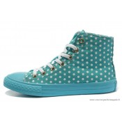 Femme Converse Double Upper Chuck Taylor All Star Haute Toile Blanche PunctiPourm Bleu