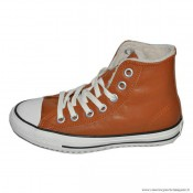 Chuck Taylor Converse All Star Femme Haute Cuir Chaussures Avec Velours Coral