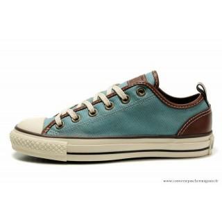 Converse All Star Basse Toile Aqua Bleu Marron