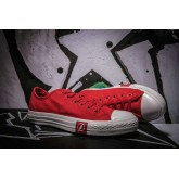 Converse All Star Basse Toile Chaussures Foudre Rouge